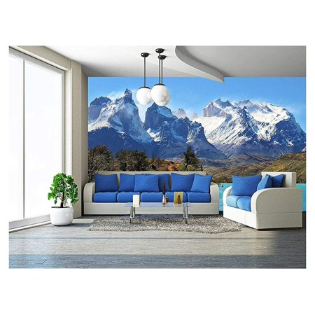 wall26 - Azure Lake Pehoe at the Foot of the Magnificent Snow-Covered Cliffs - Removable Wall Mural | Self-adhesive Large Wallpaper - 100x144 inches (Magnificent Marble)