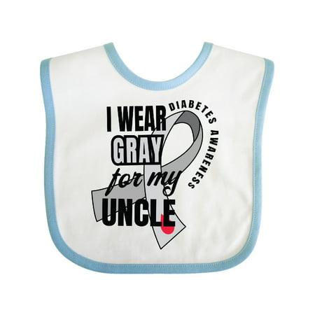Inktastic Diabetes Awareness I Wear Gray For My Uncle Infant Bib Unisex