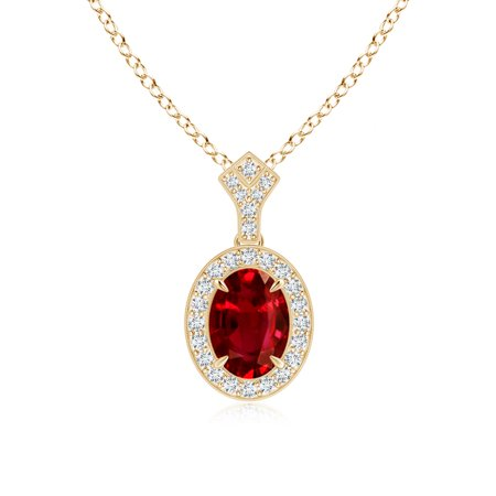Black Friday Sale - Milgrain-Edged Oval Ruby and Diamond Halo Pendant in 14K Yellow Gold (8x6mm Ruby) - SP0691RD-YG-AAAA-8x6 18k Platinum Necklace
