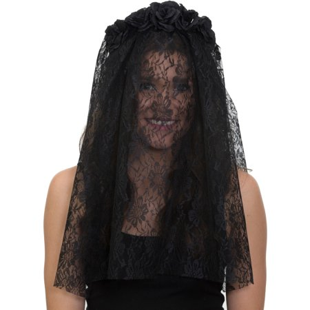 Adults Black Gothic Funeral Veil Headband With Flowers Costume Accessory