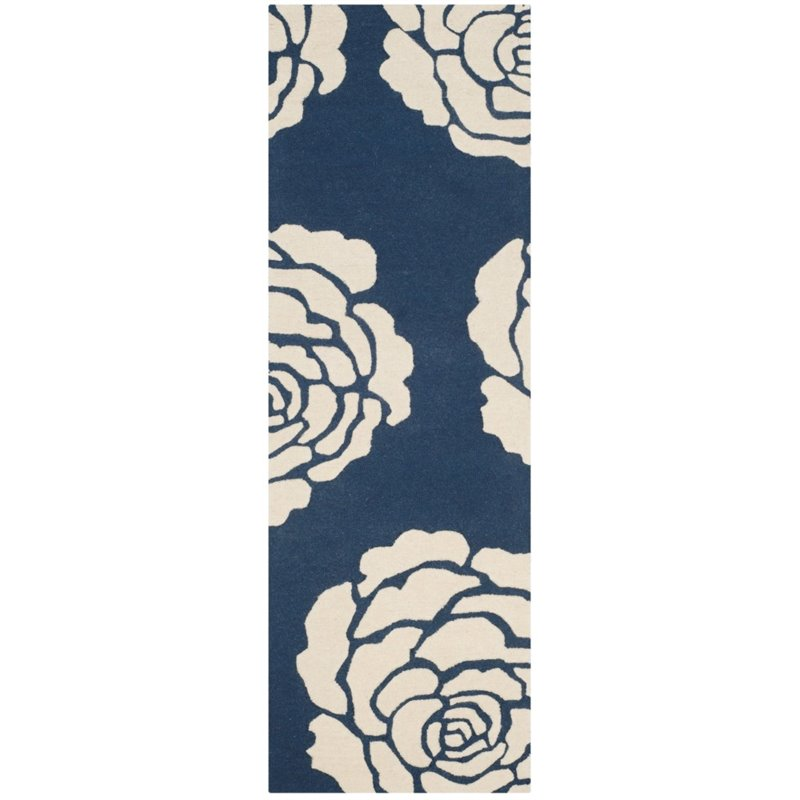 Safavieh Cambridge 8' X 10' Hand Tufted Wool Rug in Navy and Ivory - image 5 de 10