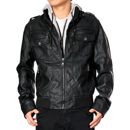 RNZ Premium Designer Men's Faux Leather Jacket - M1-Black-XXL