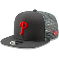 Philadelphia Phillies New Era Mesh Fresh 9FIFTY Adjustable Snapback Hat - Graphite - OSFA
