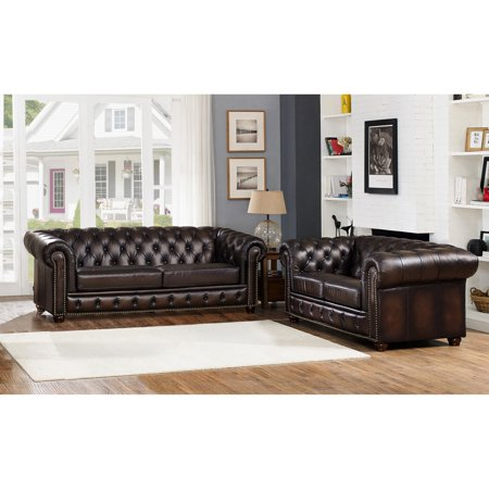 Amax Leather Albany Top Grain Sofa And Loveseat Set