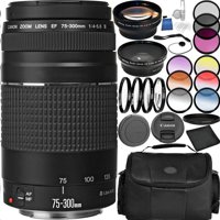 Canon EF 75-300mm f/4-5.6 III Lens Bundle with Carrying Case and Accessory Kit (29 Items)