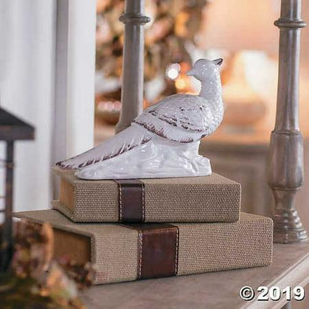 Gilded Harvest White Ceramic Pheasant