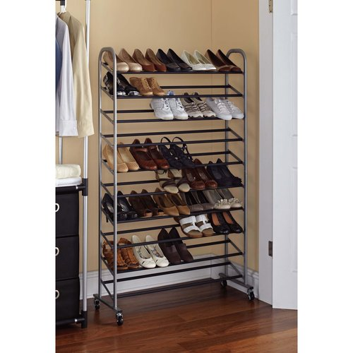 Mainstays 10-Tier Rolling Shoe Rack, Silver/Black