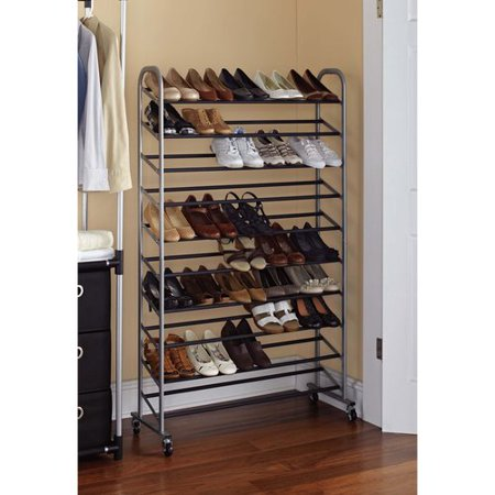 black shoe rack Mainstays 10 Tier Rolling Shoe Rack, Silver/Black   4QvRwAG black shoe rack