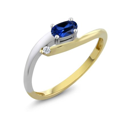 Women's Oval Simulated Sapphire 18K Two Tone Gold Diamond -