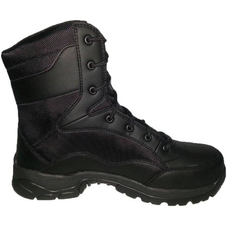 Interceptor Mens Force Tactical Steel Toe Work Boots, Black Leather