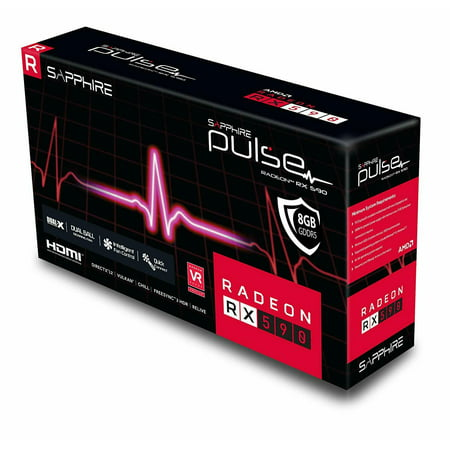 Sapphire Technology 11289-06-20G Radeon Pulse RX 590 8GB GDDR5 Dual HDMI/ DVI-D/ Dual DP w/ Backplate (UEFI) PCI-E Graphic Cards VIdeo GPU