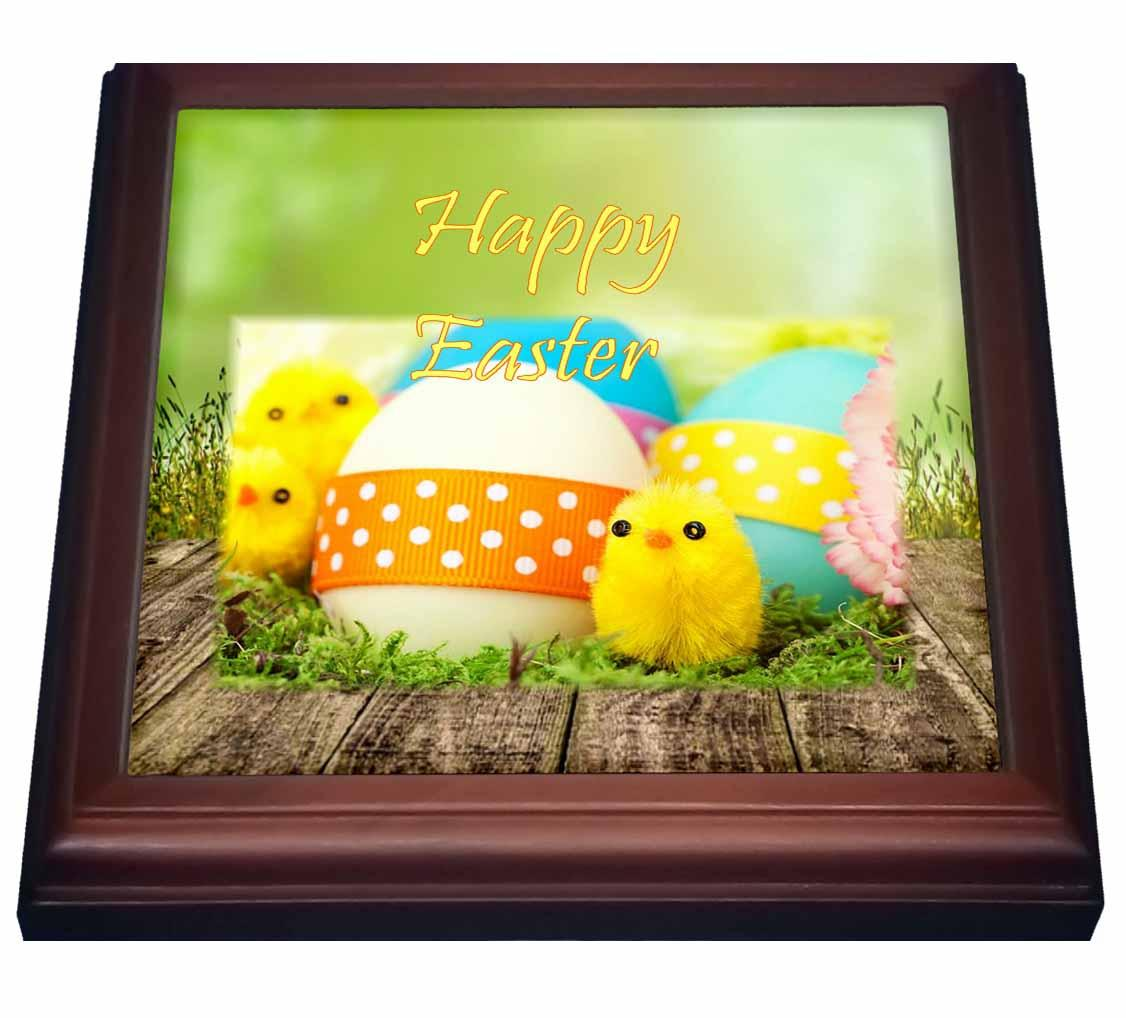 3dRose Print of Adorable Baby Easter Chicks With Ribbons, Trivet with Ceramic Tile, 8 by 8-inch by 3dRose