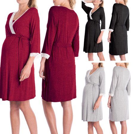Nursing Nightdress (US Maternity Nightdress Women Nursing Sleepwear Nightgown Homewear T-shirt Dress)