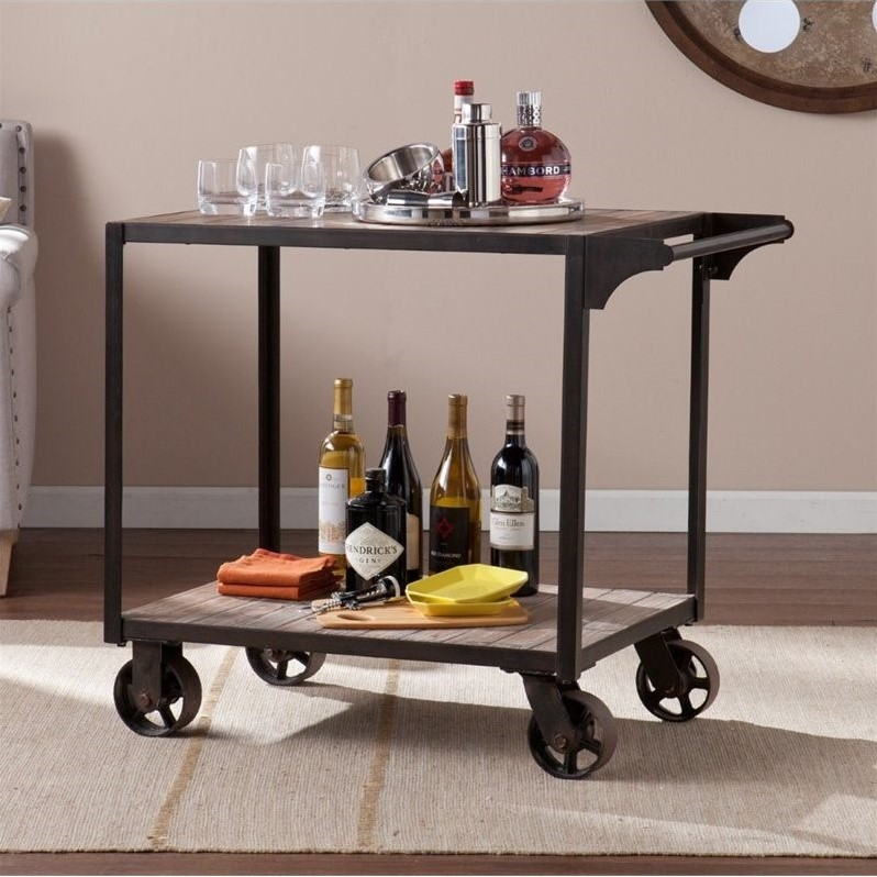 Southern Enterprises Dayne Bar Cart in Black and Gray