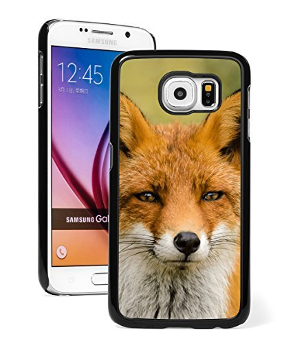 Samsung Galaxy S7 Hard Back Case Cover Close Up Fox (Black )