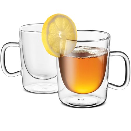 Double Walled Glass Coffee Mugs - 10¼ Ounce (2 Pack) with Convenient handle Perfect Tea Glasses, Insulated Espresso Cups for Cappucino, Latte for Hot - Cold Beverages, Microwave safe