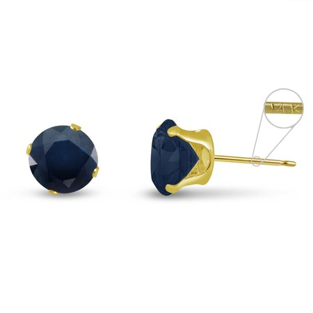 Round 5mm 14k Yellow Gold Genuine Blue Sapphire 1.5 cttw Stud Earrings, September Birthstone