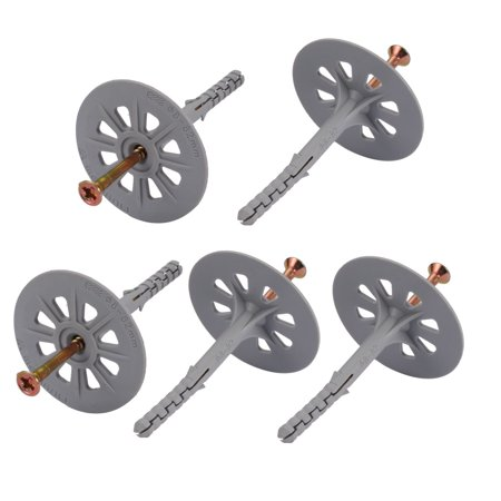 Unique Bargains 5 pcs M8mmx82mm Flanged Head Nylon Drywall Anchor w Iron Zinc Plated Nail