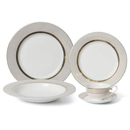 Royalty Porcelain Vintage Gold Dot 20-pc Dinnerware Set 'Pure Gold', Premium Bone China