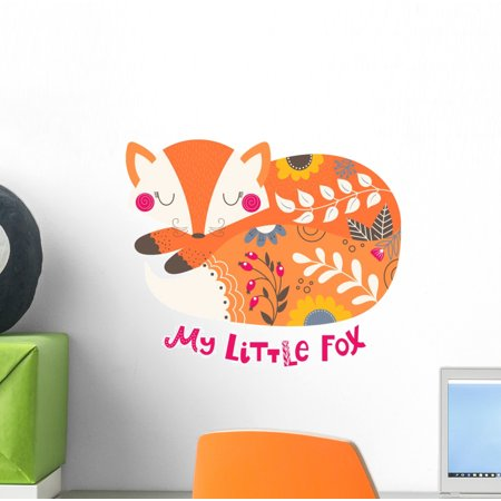 Illustration with Sleeping Fox Wall Decal Wallmonkeys Peel and Stick Animal Graphics (12 in H x 12 in W) WM502850