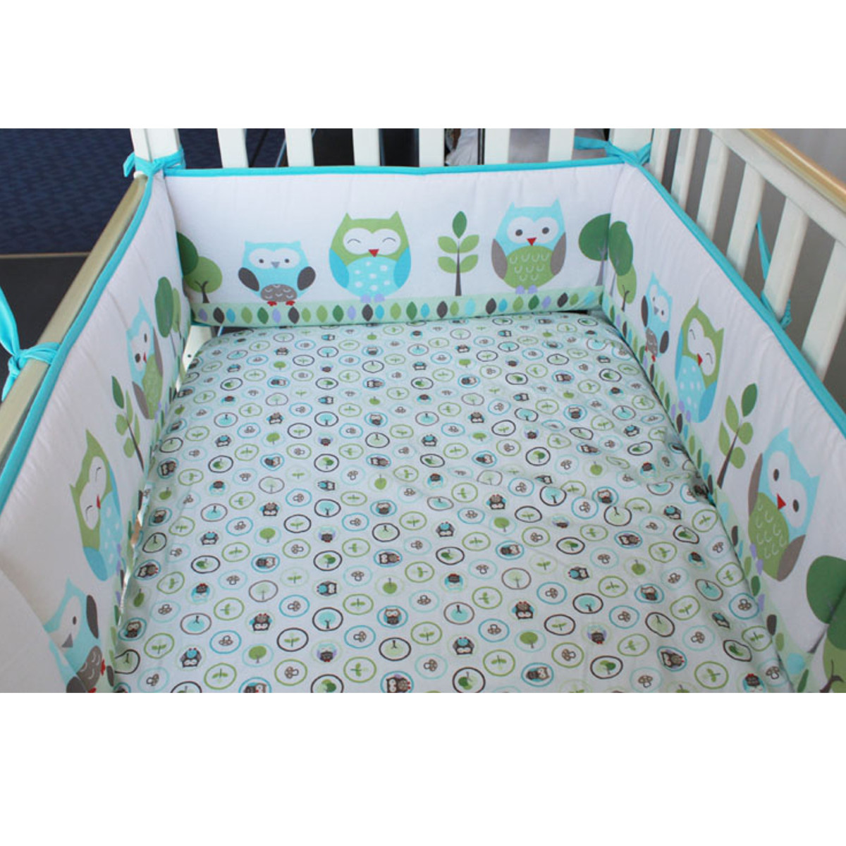 Owl 4pcs Cotton Baby Crib Cot Bumpers Pad Padded & Quilted Full Surround SPECIAL TODAY !