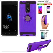 "Phone Case for Boost Mobile Coolpad Legacy 32GB Prepaid Smartphone, Legacy Case 6.3"" (Not For Legacy-Go 5"" ) Screen Protector  +Shock Absorbing Cover Ring-Holder (Slim Ring Purple +Tempered Glass)"