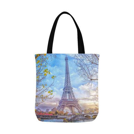 HATIART Romantic Eiffel Tower in Paris France Canvas Tote Bag Tote Shopping Bag Washable Grocery Tote Bag, Craft Canvas Bag for Women Men Kids - image 2 of 3