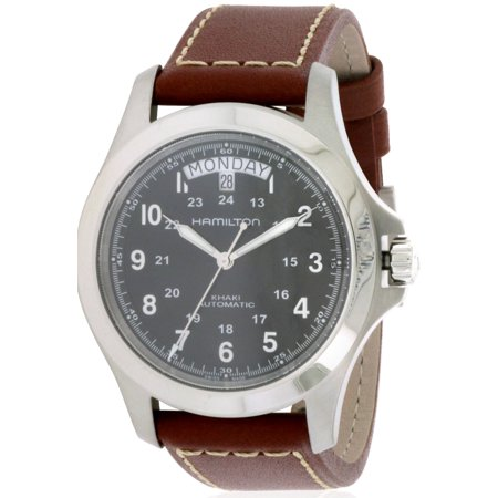 Hamilton Men's Brown Leather Band Steel Case S. Sapphire Automatic Black Dial Analog Watch H64455533