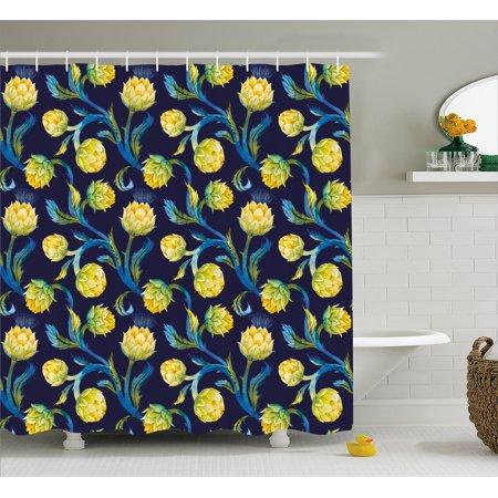 Artichoke Shower Curtain, Watercolor Artichokes Abstract Color Scheme Art Nouveau, Fabric Bathroom Set with Hooks, Dark Blue Violet Blue and Yellow, by Ambesonne](Navy Color Scheme)