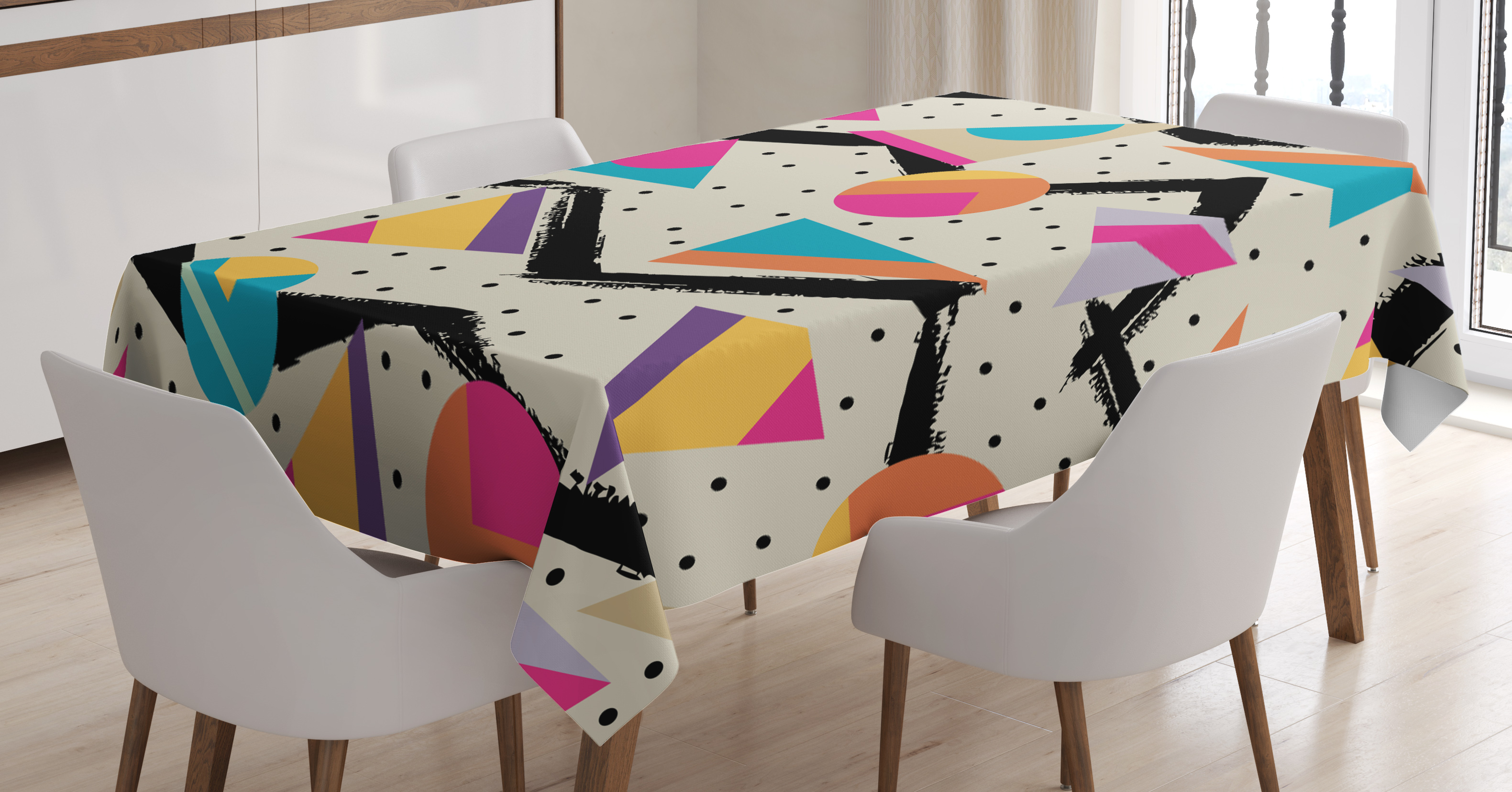 Indie Tablecloth, Eighties Memphis Fashion Style Geometric Abstract  Colorful Design With Dots Funky, Rectangular