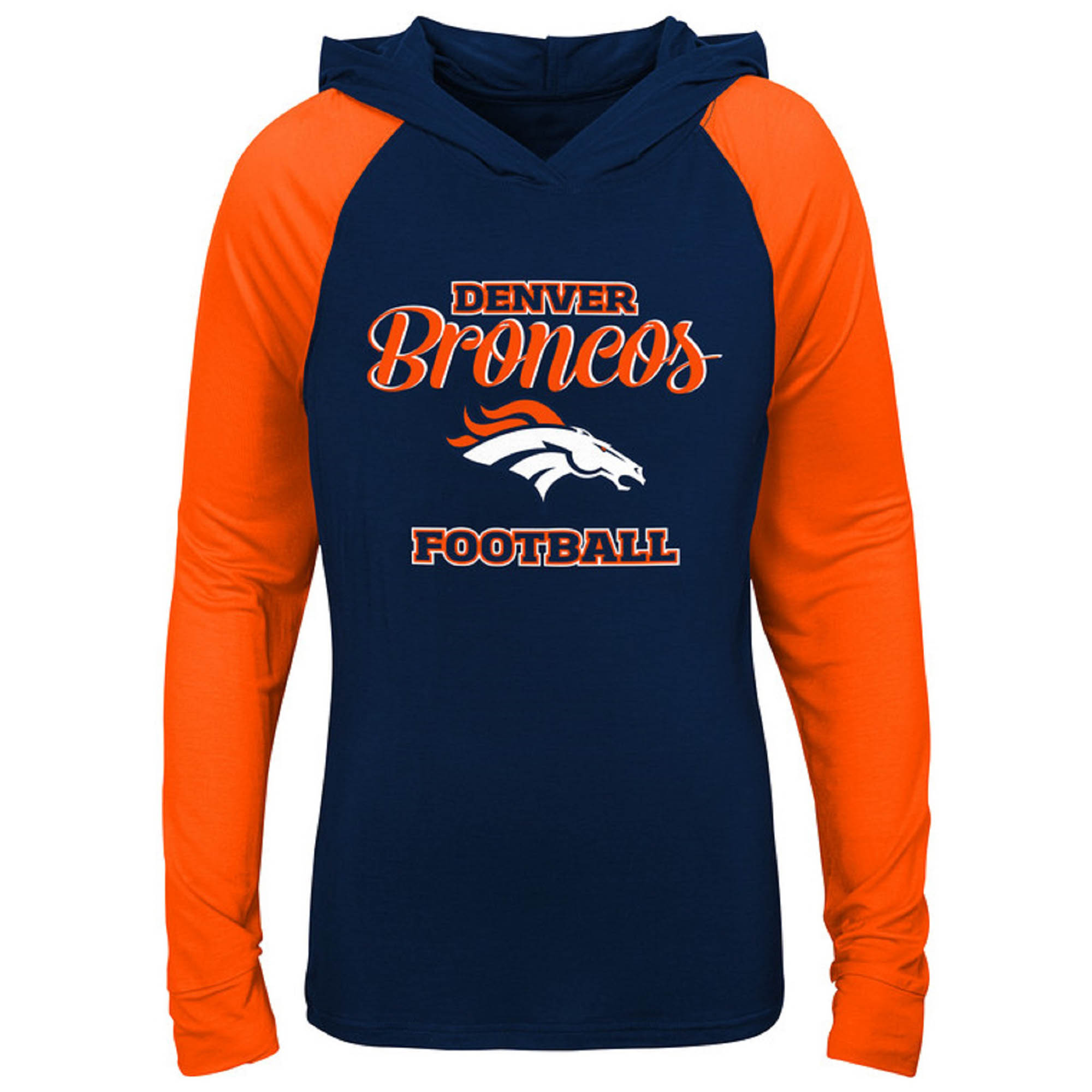 Girls Youth Navy/Orange Denver Broncos Hooded Long Sleeve T-Shirt