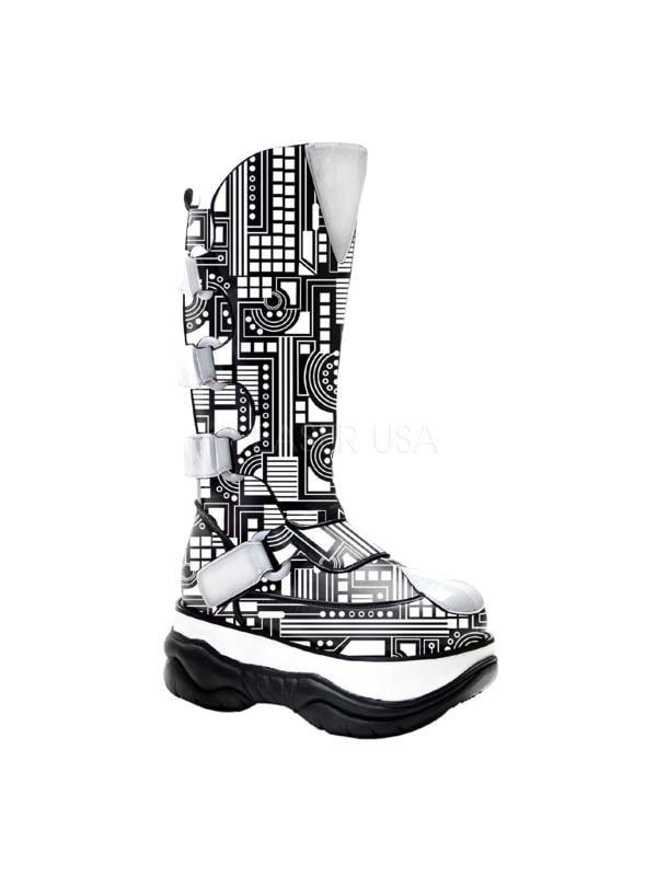 NEP309UV/B/PU Demonia UV Reactive/Cyber Unisex Shoes BLACK Size: 5