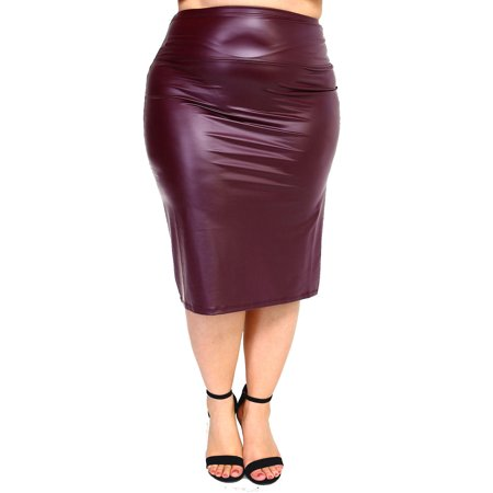 3d198ebcb0e Genx - Womens Plus Size Sexy PU Faux Leather Pencil Skirt XS67261-2XL-Wine  - Walmart.com
