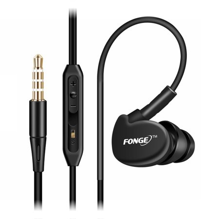 FONGE S500 Wired In-ear Waterproof Earphones Ear Hook Earbuds Stereo Super Bass Headphones Sport Headset with Mic Black Black Super Bass Earbuds