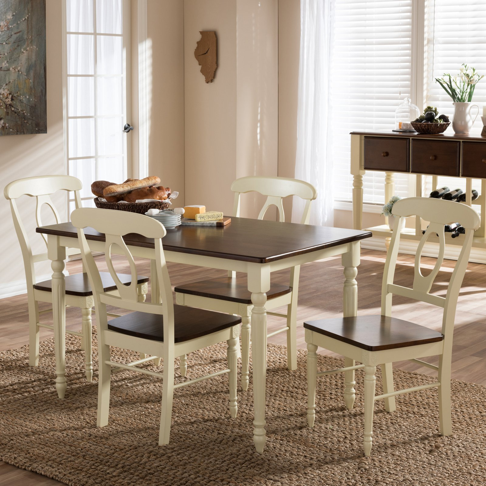 Baxton Studio Napoleon 5 Piece Dining Table Set