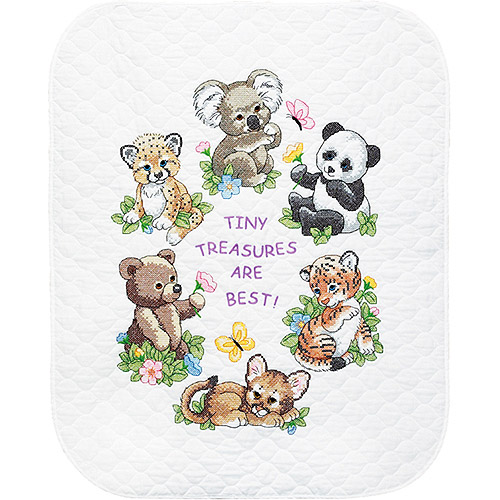 "Baby Hugs& Baby Animals Quilt Stamped Cross-Stitch Kit, 34"" x 43"""