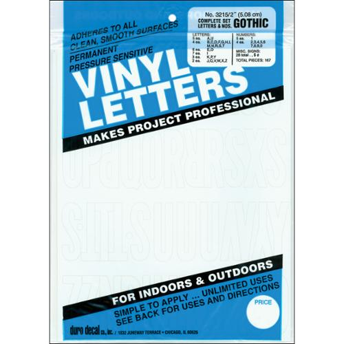 """Permanent Adhesive Vinyl Letters & Numbers 2""""-Gothic/White"""