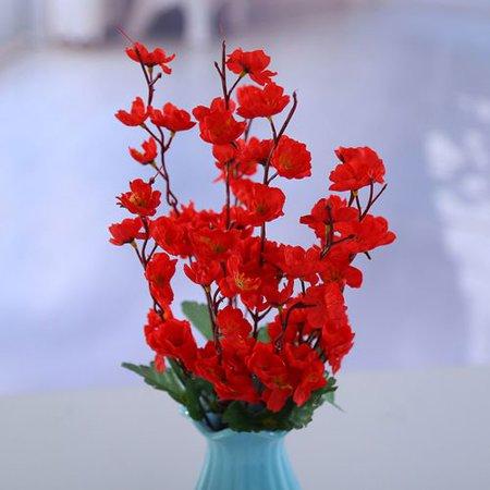 KABOER 43cm Artificial Silk Plum Peach Blossom Branch Fake Flower Home Wedding Decor ()