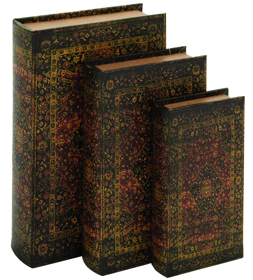 Modern And Classic Inspired Wood Fabric Book Box Set Of Three Home Decor