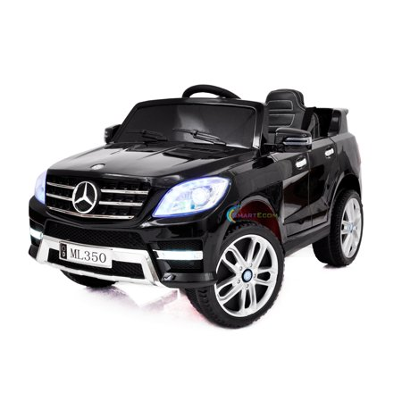 12V powered ride on car Mercedes ML350 toy for Kids with Remote Control LED lights Leather Seat MP3 Opening doors - Black](Light Toys For Kids)