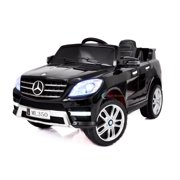 12V powered ride on car Mercedes ML350 toy for Kids with Remote Control LED lights Leather Seat MP3 Opening doors - Black