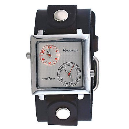 NFB219S Men's Black Wide Leather Band Silver Dial Dual Time Zone Watch 2nd Time Zone Black Dial
