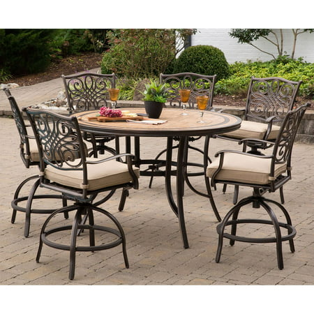 Hanover Monaco 7 Piece Outdoor High Dining Bar Set With Tile Top Table Natural Oat