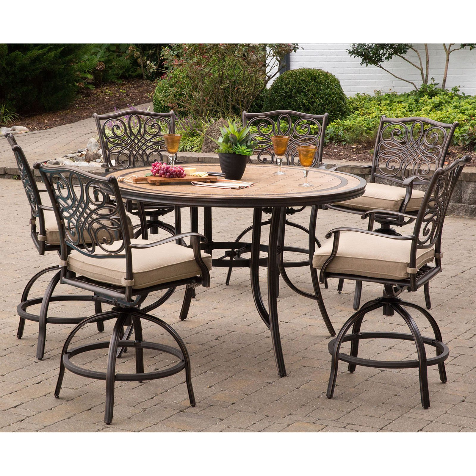 Hanover Monaco 7-Piece Outdoor High-Dining Bar Set with Tile-Top Table, Natural Oat