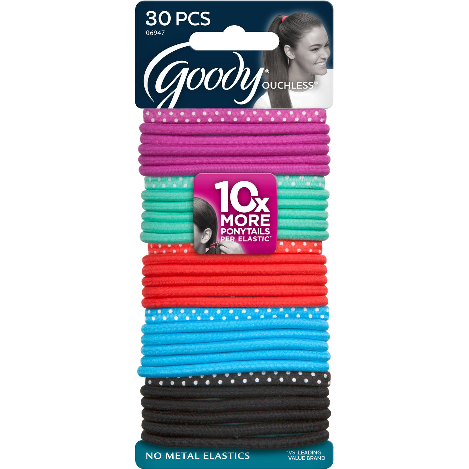 Goody Ouchless Elastics, Polka Dot, 30 count