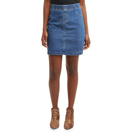 Women's Stretch Denim Skort - Embroidered Denim Skort