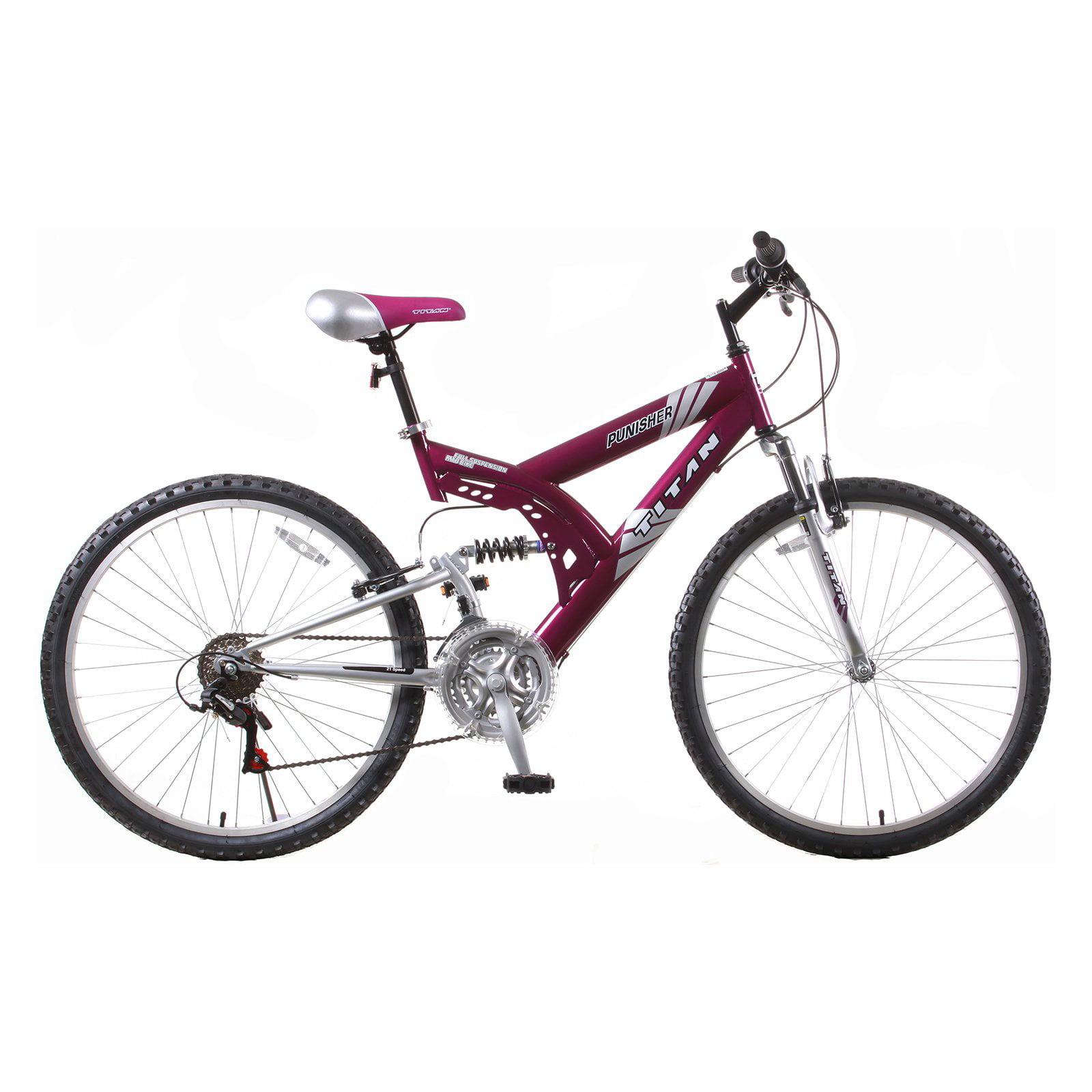 Titan Punisher Women's 21-Speed Dual Suspension All Terrain Mountain Bike, Purple