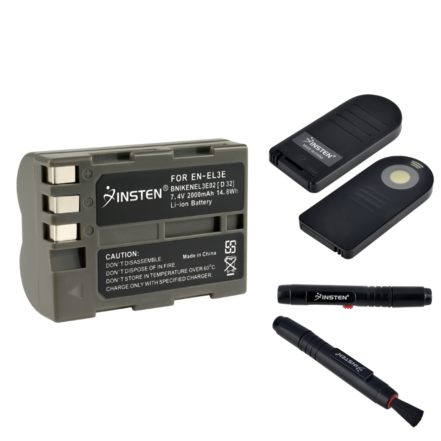 Insten For Nikon D70s Camera Lens Cleaning Pen+2x EN-EL3e Battery+ML-L3 Remote Control