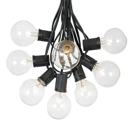 G50 Patio String Lights with Clear Globe Bulbs – Outdoor String Lights – Market Bistro Café Hanging String Lights – Patio Garden Umbrella Globe Lights – E12/C7 - Bulb String Lights