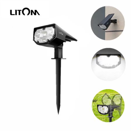 LITOM Solar spotlight 12 LED IP67 waterproof solar powered garden light,2 lighting modes,2-in-1 adjustable solar landscape spotlight Adjustable Landscape Spotlight